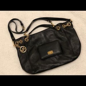Michael Kors soft pebble satchel wallet set